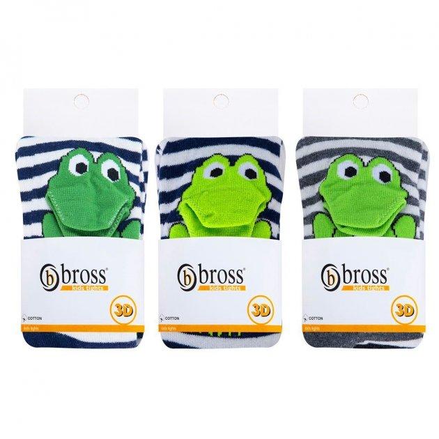 Набор колготы детские BROSS 3D лягушка 62-68 0-6 месяцев Белые в полоску 3 шт - изображение 1