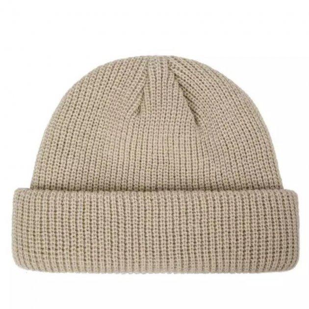 Короткая шапка вязаная бежевый - изображение 1