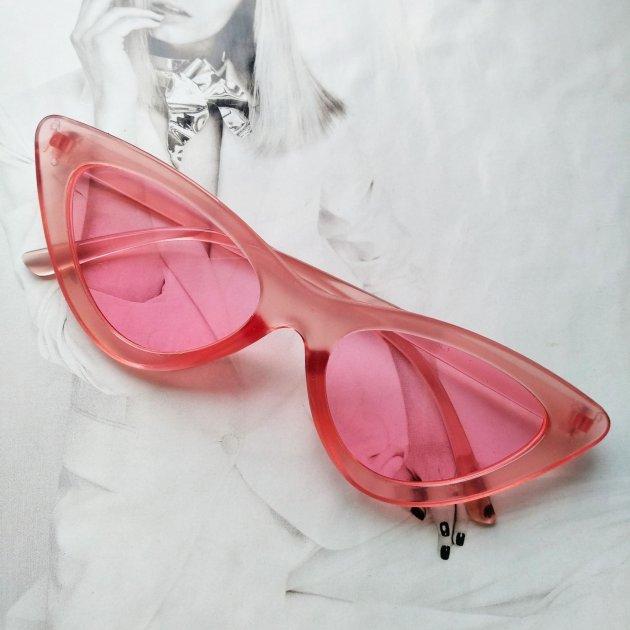 Треугольные очки солнцезащитные кошачий глаз Розовый - изображение 1