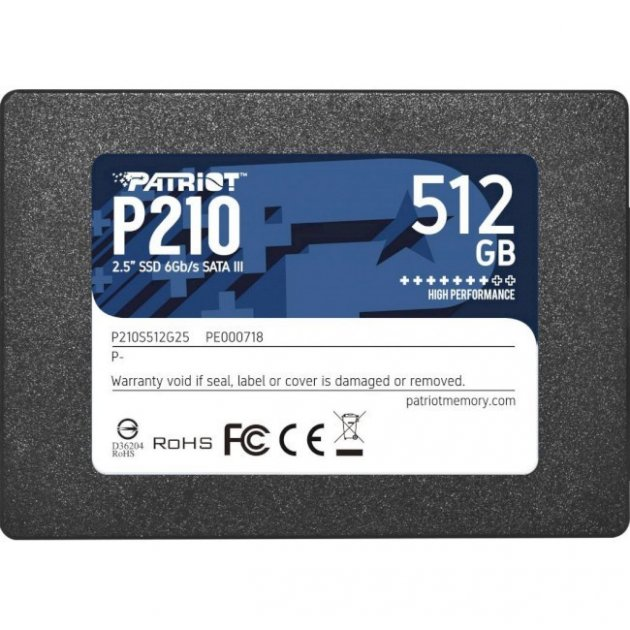 """Накопичувач SSD Patriot P210 512GB 2.5"""" SATAIII TLC (P210S512G25) - зображення 1"""