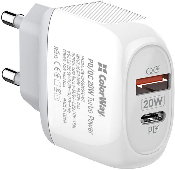 Сетевое зарядное устройство ColorWay (Type-C PD + USB QC3.0) 3.0А 20W White (CW-CHS024QPD-WT) - изображение 1
