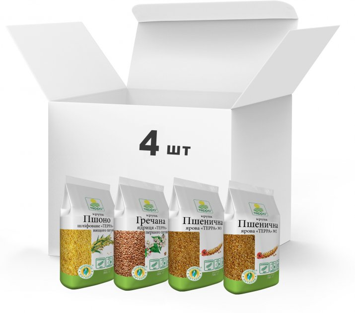 Набор круп Терра №11 Крупа пшеничная, Крупа гречневая, Крупа Пшено 3.1 кг (4820015738561) - изображение 1