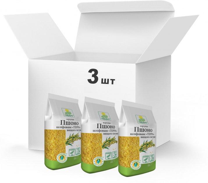 Упаковка Крупа Терра Пшено шлифованное Высшего сорта 3 x 0.9 кг (4820015739193) - изображение 1