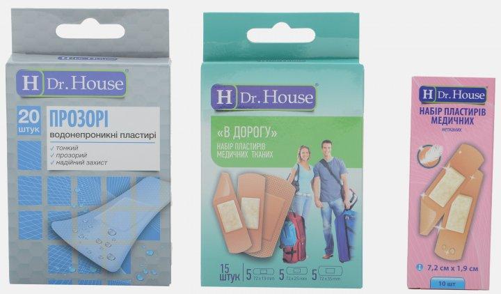 Набор пластырей H Dr. House Прозрачные №20 + В дорогу №15 + Нетканый №10 (4823905173039) - изображение 1
