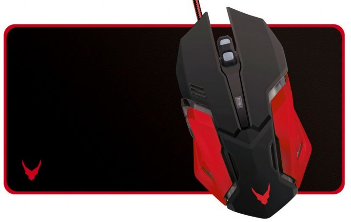 Миша VARR MPX2 USB з ігровою поверхнею Black-Red (VSETMPX2) - зображення 1