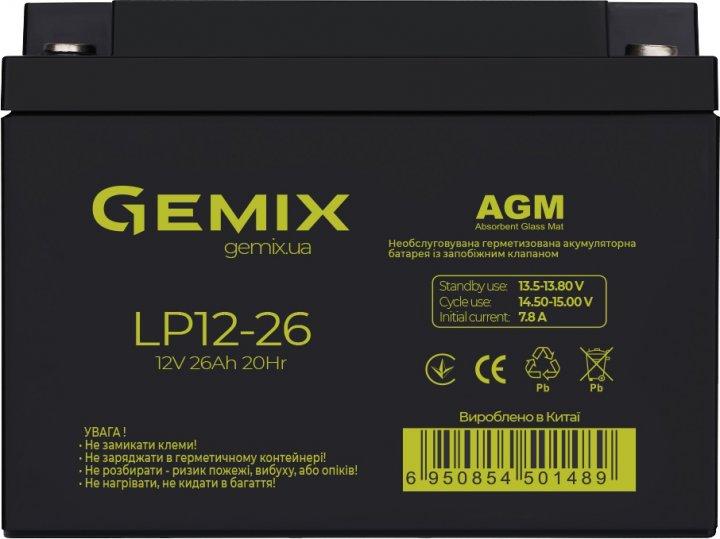 Акумуляторна батарея Gemix 12V 26Ah AGM (LP12-26) - зображення 1
