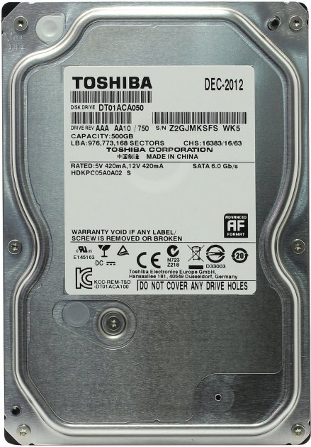 """Жорсткий диск Toshiba HDD 500ГБ 7200об/м 32МБ 3.5"""" SATA III (DT01ACA050) Refurbrished - зображення 1"""