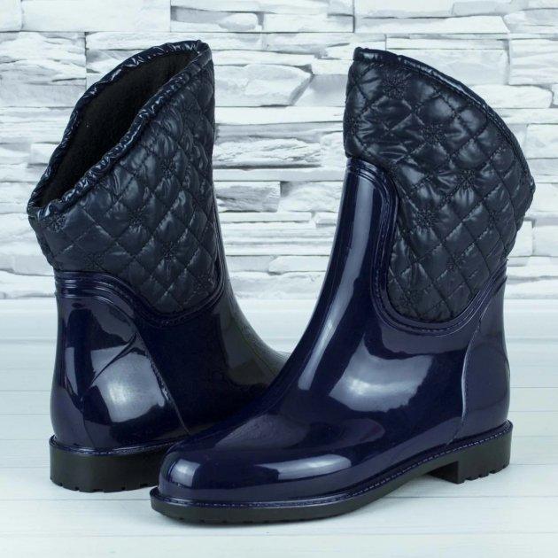 Сапоги резиновые женские силиконовые W-shoes 115b синие на флисе 39 р. (24,5 см) b-477 - изображение 1