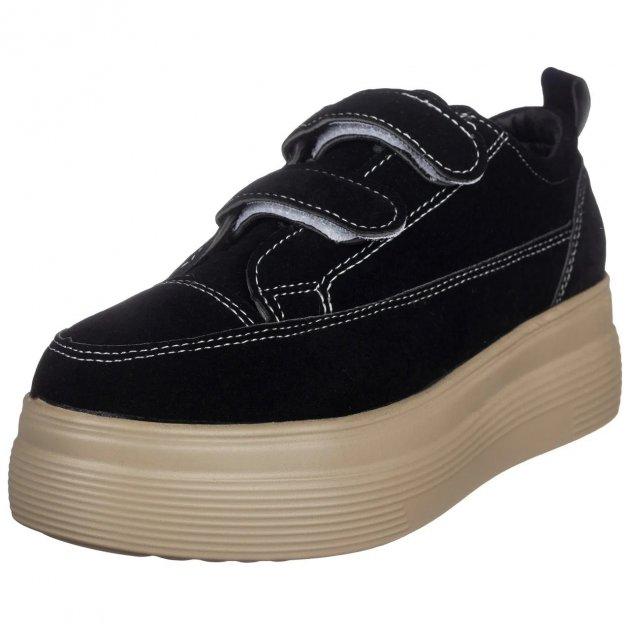 Кеды женские Violeta168-25 black черные на платформе и липучках эко замша 38р. (24 см.) b-440 - изображение 1