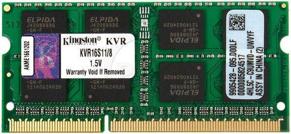 Оперативна пам'ять Kingston SODIMM DDR3-1600 8192 MB PC3-12800 (KVR16S11/8WP) - зображення 1