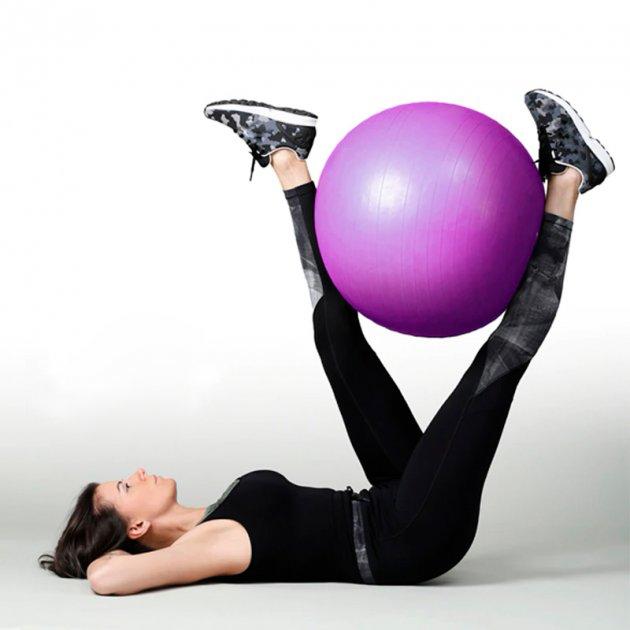 Фитбол (Мяч для фитнеса, гимнастический) глянец OSPORT 75 см (OF-0019) Фиолетовый - изображение 1