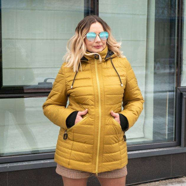 Женская весенняя куртка большого размера UF-fashion Натали-UF 50 горчичный - изображение 1