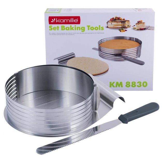 Форма-слайсер Kamille для бисквита регулируемая 24,5 - 30 см с ножом и подносом - зображення 1