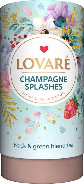 Бленд черного и зеленого чая с клубникой и лепестками цветов Lovare Брызги шампанского 80 г (4820097815556) - изображение 1