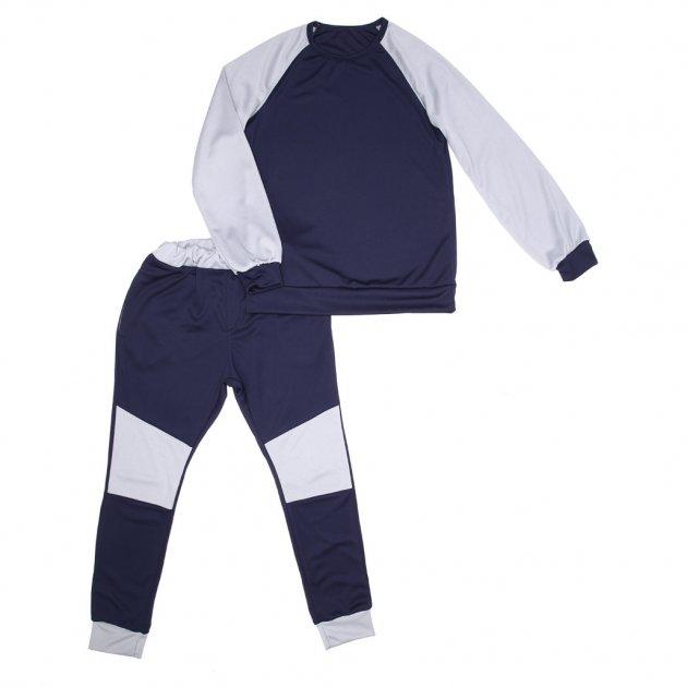 Комплект Sofushka штани і реглан синій з сіримивставками 164 - изображение 1