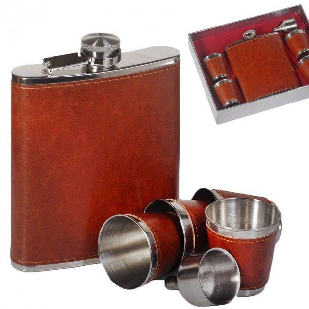 Набор Hip Flask Фляга 18oz+стаканчики+лейка Коричневый 61011 - изображение 1