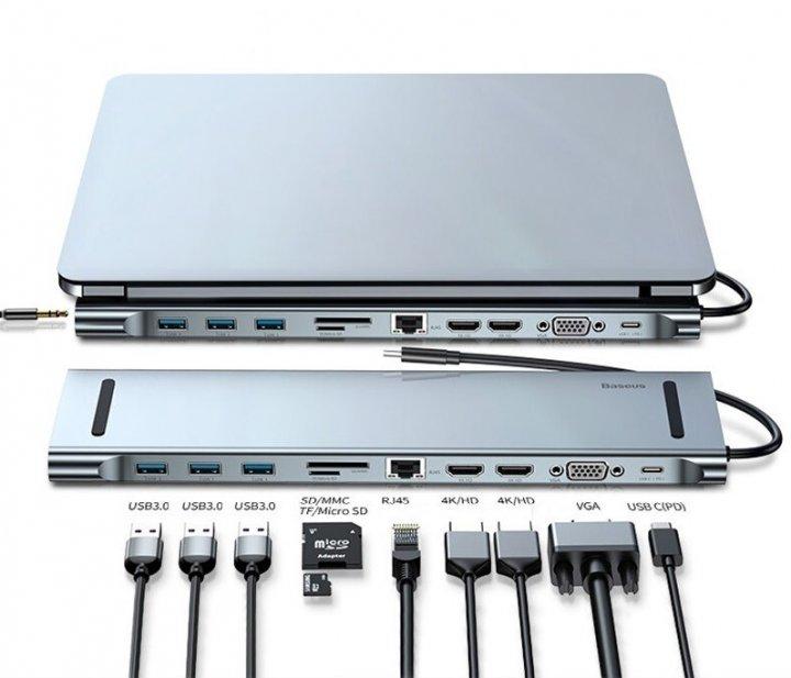 Хаб-концентратор/Док-станция Baseus 11в1 PD/HD4K*2/VGA/RJ45/SD/TF/USB*3/Adapter для MacBook/Windows/Linux - изображение 1