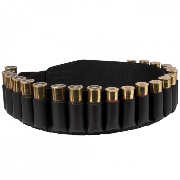Кожаный Патронташ Bronzedog на 24 патрона 12/16 калибра Открытый Черный (10305/1) - изображение 1