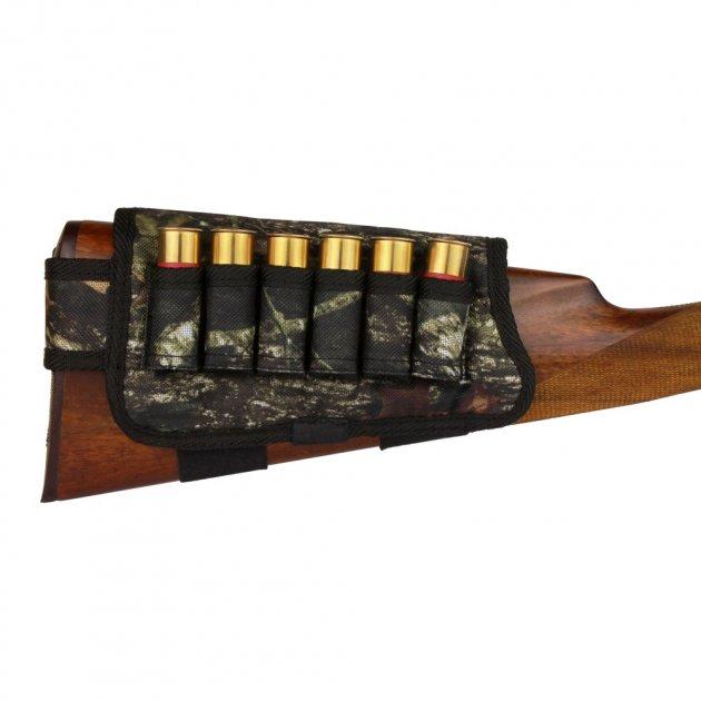 Патронташ на Приклад з Поліестеру Bronzedog Правша 6 патронів калібр 12/16 Чорний (8101) - зображення 1