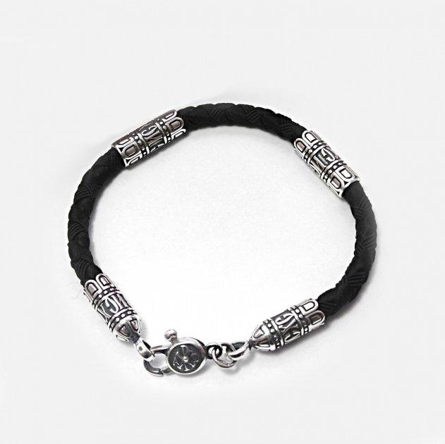 Мужской шелковый браслет Meridian черный (426/4) - изображение 1