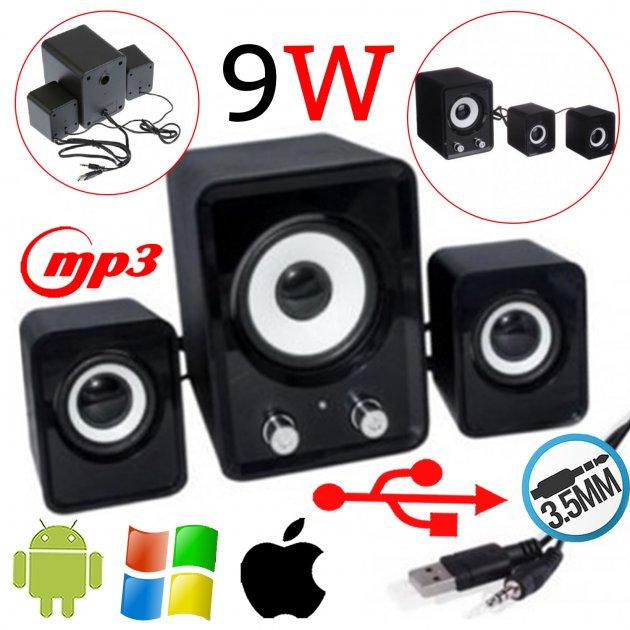 Компактні стерео динаміки c сабвуфером Speaker FT-202 Колонки для комп'ютера і ноутбука акустика 2.1 Чорний (as-1130) - изображение 1