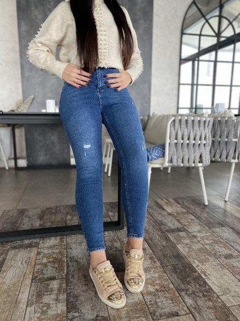 Джинси жіночі з латками джинс стрейч Miss Podium Синій 52 - зображення 1