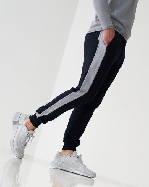 Спортивные штаны тонкие GR8 active wear модель 7т2-синий+полоска размер S - изображение 1