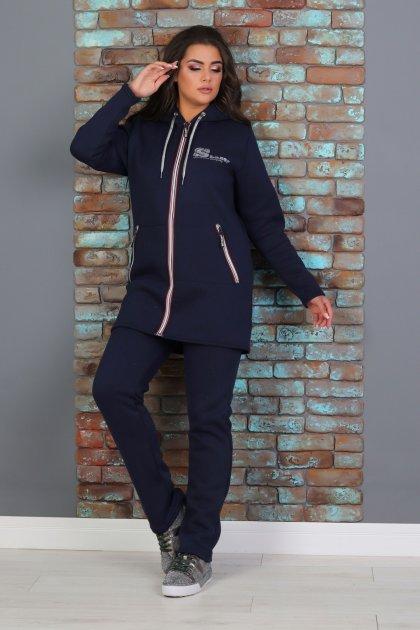 Утепленный трикотажный костюм Slazer с удлиненной курткой 48 Темно-синий (308/1) - изображение 1