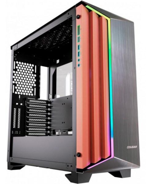"""Корпус Cougar Dark Blader-S 4*3.5""""/4*2.5"""" панель з шліфованого алюмінію, RGB підсвічування, загартоване скло - зображення 1"""