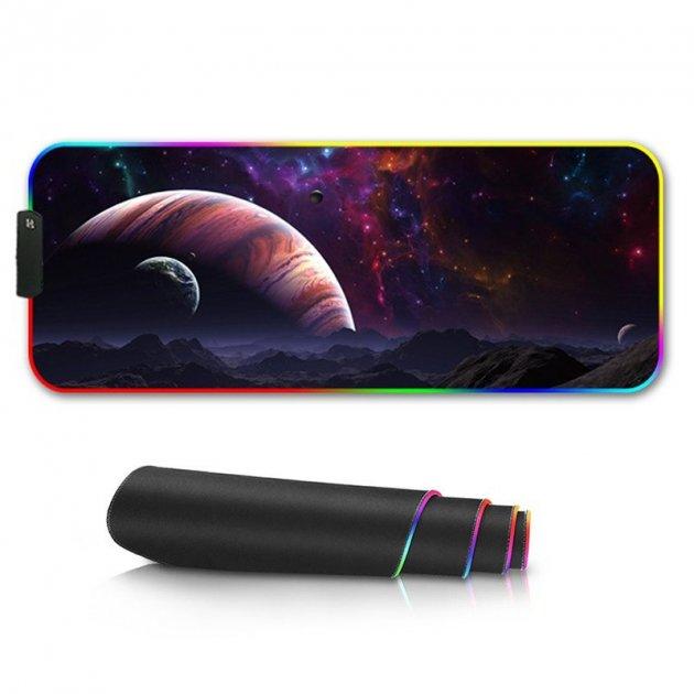 Ігровий килимок для миші з підсвічуванням великий 80х30 см LED PAD SPACE XL (MP-25183) - зображення 1