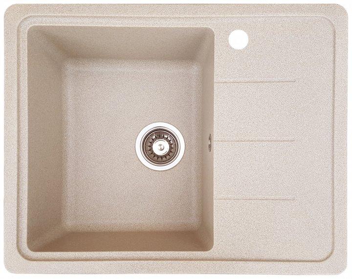 Гранітна кухонна мийка Everest 28R 620x500x210мм Бежева - зображення 1