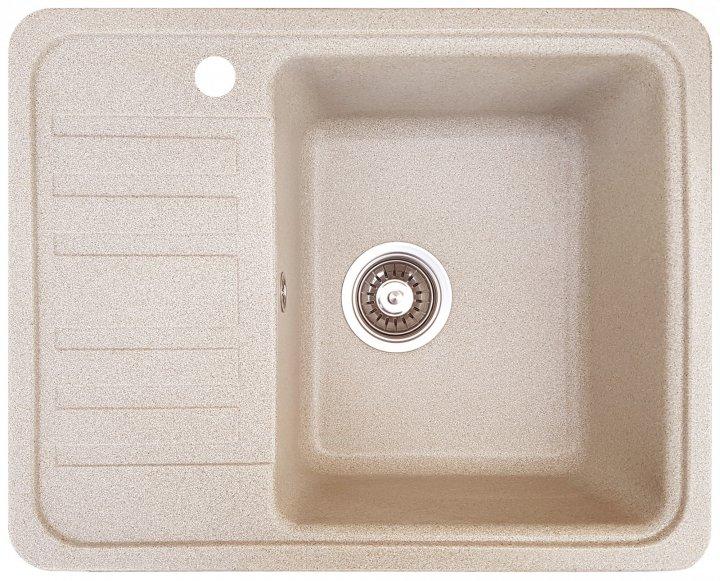 Гранитная кухонная мойка Everest 9L 570x460x205мм Бежевая - изображение 1