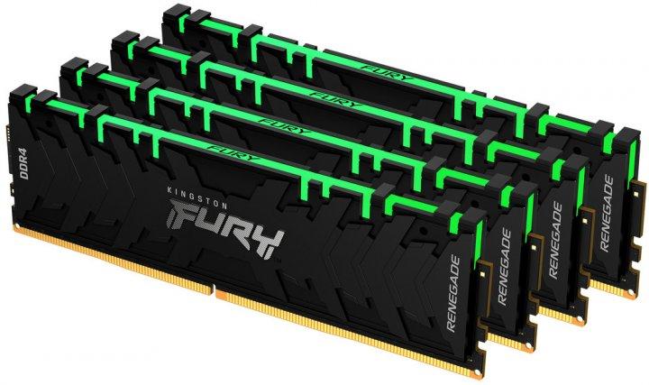 Оперативная память Kingston Fury DDR4-3200 131072MB PC4-25600 (Kit of 4x32768) Renegade RGB 2Rx8 Black (KF432C16RBAK4/128) - изображение 1