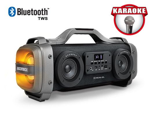 Портативная акустическая система REAL-EL X-770 (black) 60 Вт, Li-Ion аккумулятор, USB, microSD,FM,BT, Караоке, TWS, RGB (24569) - зображення 1