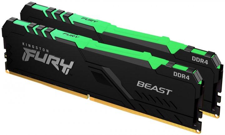 Оперативна пам'ять Kingston Fury DDR4-3733 16384 MB PC4-29864 (Kit of 2x8192) Beast RGB Black (KF437C19BBAK2/16) - зображення 1