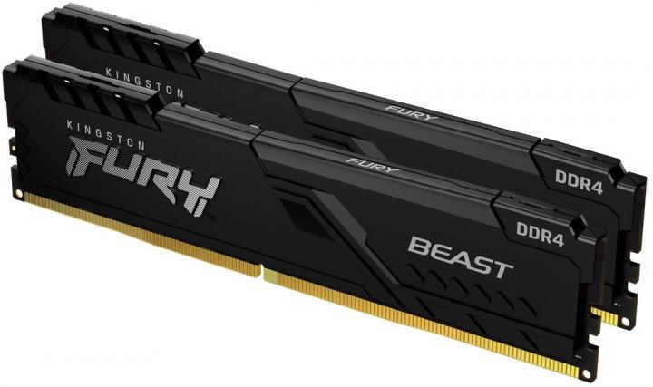 Оперативна пам'ять Kingston Fury DDR4-3733 32768 MB PC4-29864 (Kit of 2x16384) Beast Black (KF437C19BB1K2/32) - зображення 1