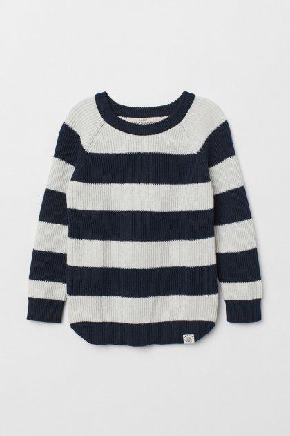 Джемпер H&M в'язаний 98-104 синій з сірим 5-0021 - зображення 1