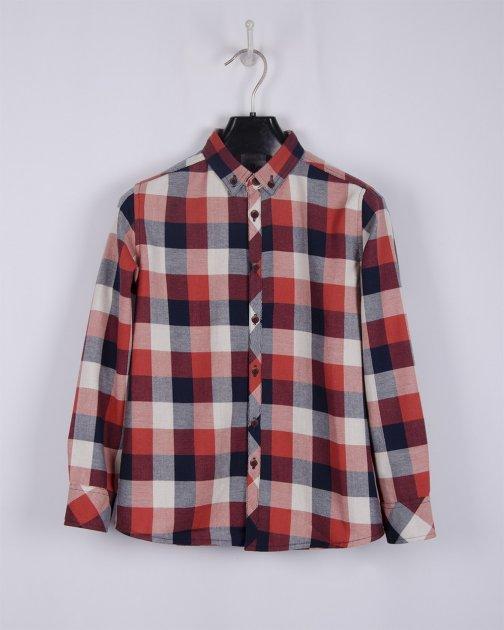 Рубашка BoGi 128 см Сине-рыжая клетка (001.064.0313.05-128) - изображение 1