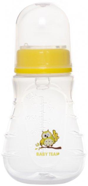 Бутылочка для кормления эргономичной формы с силиконовой соской Baby Team 150 мл (1405_сова) - изображение 1