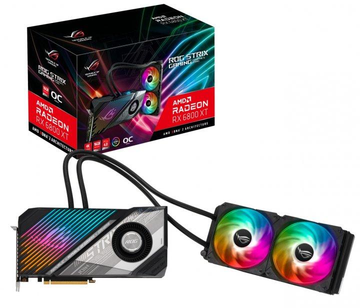 Видеокарта AMD Radeon RX 6800 XT 16GB GDDR6 ROG Strix Gaming OC Asus (ROG-STRIX-LC-RX6800XT-O16G-GAMING) - изображение 1