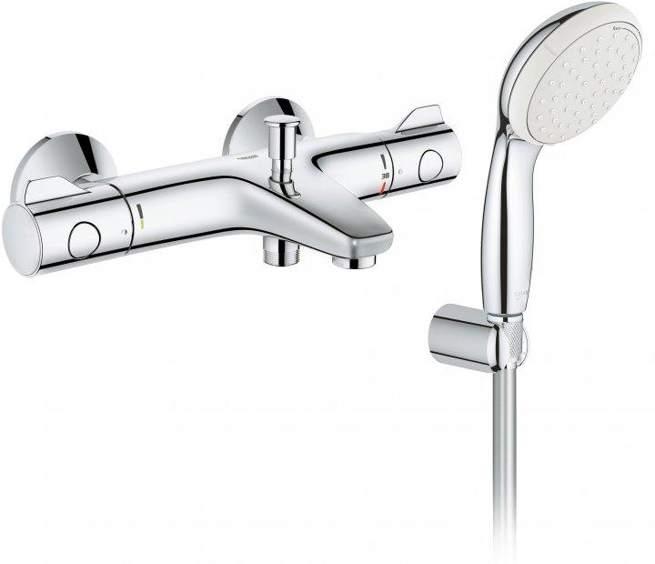 Смеситель для ванны GROHE Grohtherm 800 34567000 с душевым гарнитуром Tempesta 26164001