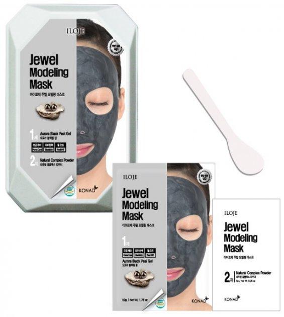 Моделирующая маска для лица Konad Iloje Jewel Modeling Mask Pack Aurora Blackpearl с черным жемчугом 55 г (8809433726080) - изображение 1