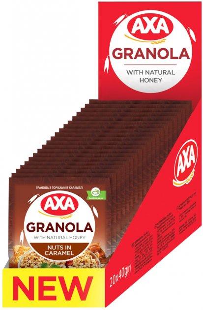 Упаковка граноли AXA з горіхами в карамелі 40 г х 20 шт. (4820008129253) - зображення 1