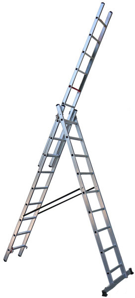 Алюминиевая трехсекционная лестница Virastar Triomax 3х9 ступеней (VTL039)