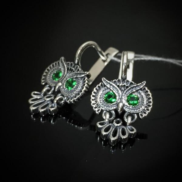 Серебряные серьги Сова Selenit 82070 - изображение 1