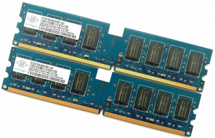 Оперативная память Nanya DDR2 4Gb (2Gb+2Gb) 800MHz PC2 6400U CL6 (NT2GT64U8HD0BY-AD) Б/У - изображение 1