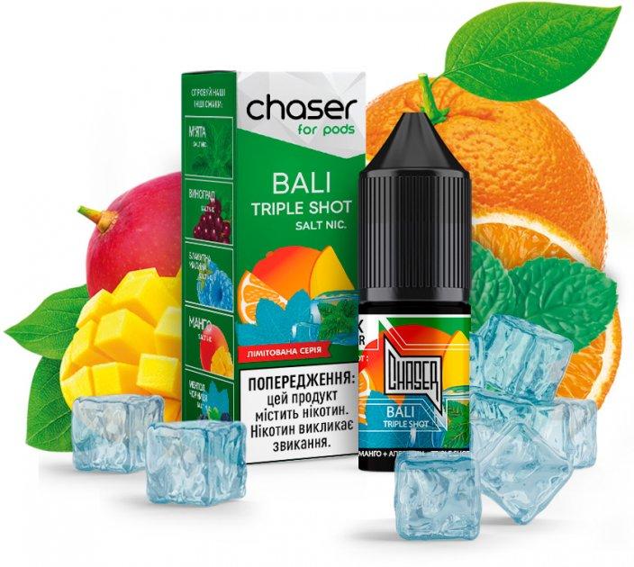 Рідина для POD-систем Chaser For Pods Salt Bali Triple Shot 50 мг 10 мл (Манго + Маракуя + Апельсин) (CS-BTS-50) - зображення 1