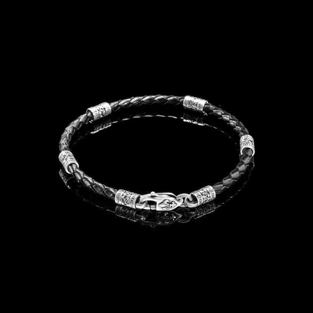 Браслет Lions Heart из кожи и серебра 21 размер (Браслет из кожи 14) - изображение 1
