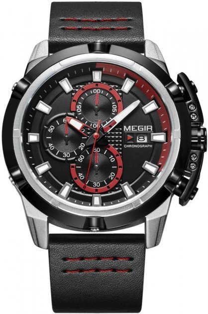 Мужские часы Megir Silver Black MG2062 (ML2062GS-BK-1) - изображение 1