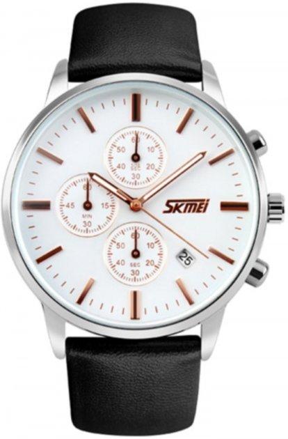 Мужские часы Skmei 9103 White Dail Black Strap BOX (9103BOXWBKS) - изображение 1